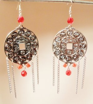 Chandelier Zodiac earrings with red beads and silver chains