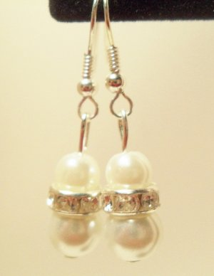 White faux pearl dangle earrings with Rondelle rhinestone bead