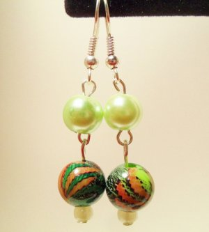 Green faux pearl earrings with brilliant green pearl and mixed green decorative bead