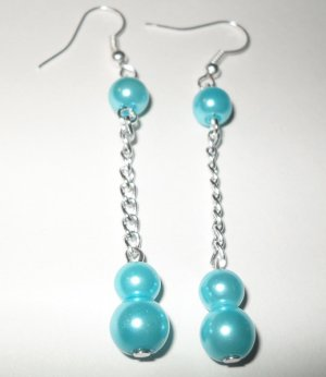 Dangle Earrings Blue faux pearls with silver plated chains