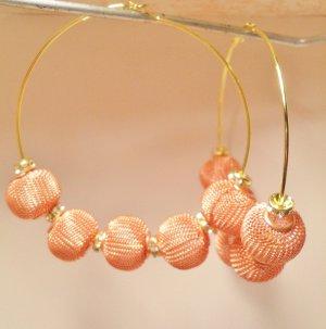 Basketball Wives inspired hoop earrings mesh beads and rondelle rhinestone beads