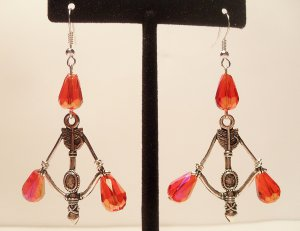 Hunger Games inspired bow and arrow earrings with red crystal teardrop beads
