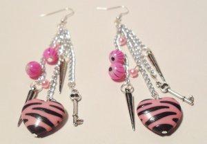 Heart earrings pink zebra