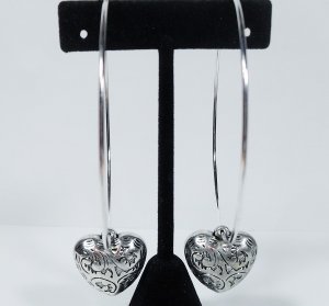 """Large silver hoop heart earrings 3 1/2"""" in with large silver heart"""