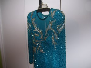 Lillie Rubin Vintage EUC Evening Gown Turquoise Silver Beaded Size 12 14 OFFERS ACCEPTED