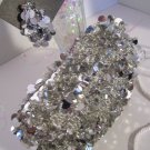 Evening Purse Silver Sequin Paillettes Beaded with Earrings Glitzy Bling Prom Party Wedding