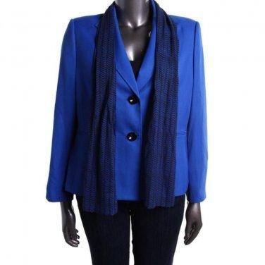 Le Suit SALE Lapis Blue Jacket With Bonus Scarf  Size 16