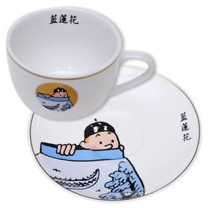 Tintin and the blue lotus porcelain breakfast cup and saucer service set