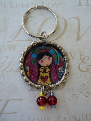 Virgencita Distroller Flattened Bottle Cap Keychain with Beads