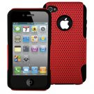 DECORO BRAND MESH HYBRID CASE - IPHONE 4, IPHONE 4S - RED ON BLACK