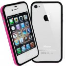 DECORO BRAND PREMIUM TPU BUMPER - IPHONE 4, IPHONE 4S - HOT PINK AND BLACK