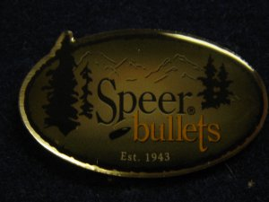 Speer Bullets &quot;Est. 1943&quot; Shot Show Hat Lapel Tie Tack Tac Badge Gun Pin