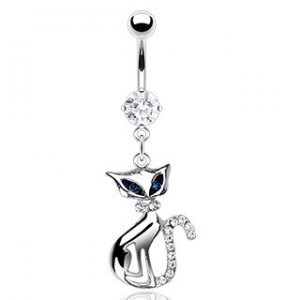 Cat Dangle/with blue cz eyes