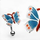 Hinge Action Top Down Navel Ring Red/White/blue buttefly