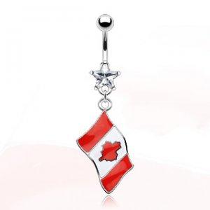 Canadian Flag Navel Ring