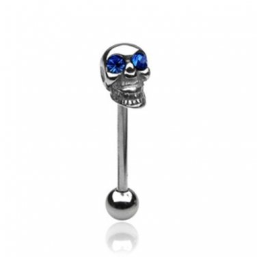 SKULL BARBELL W/ BLUE CZ GEMMED EYES