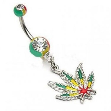 JAMAICAN LEAF NAVEL RING