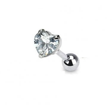 Heart Clear CZ Tragus/Cartilage Piercing Studs