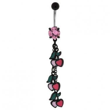 Cherry And Heart Dangle Navel Ring