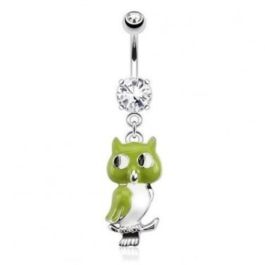 Green Owl Dangle with Double  Clear CZ Navel