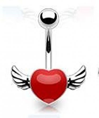 ANGEL WINGED RED NAVEL RING