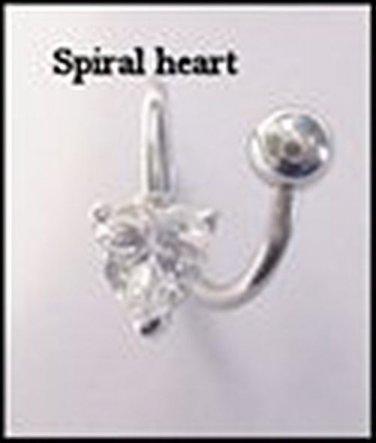 HEART TWIST CLEAR GEM NAVEL RING