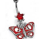 GOTHIC RED BUTTERFLY NAVEL RING