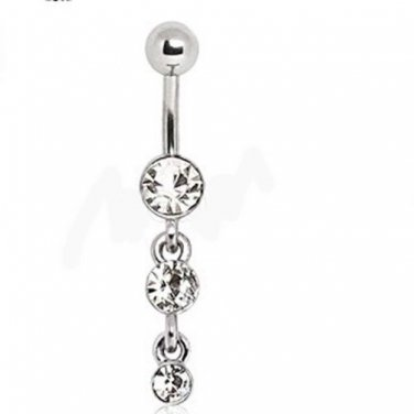 Navel Ring with Three Tier Drops