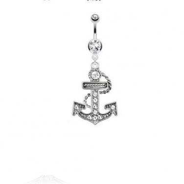 Multi Paved Anchor Dangle Navel Ring with Double Clear CZ Gems