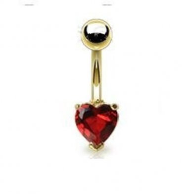 GOLD PLATED NAVEL w/RED HEART