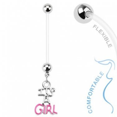 Baby Girl Gender Dangle Bio Flex Pregnancy Navel Ring