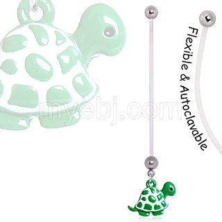 BioFlex Green Baby Turtle Pregnancy Navel Ring.