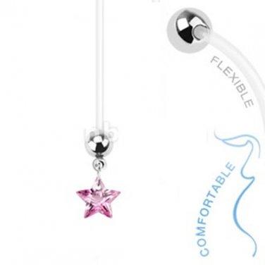 Bio Flex Pregnancy Navel Ring with Pink Star Gem Dangle