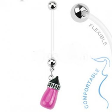 Pink Baby Bottle Pregnant Belly Ring