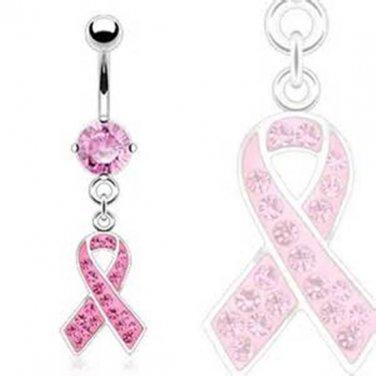 Pink Awareness Ribbon Multi Gem Dangle