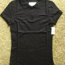 AEROPOSTALE Womens Soft Black Short Sleeve Polo Tops Shirt Stretch MEDIUM