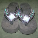 Montana West Turquoise Bling Rhinestone Sandals