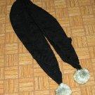 Warm Black Knit Scarf w/Faux Fur Pom Poms Free Shipping