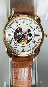 Disney Animated Gold Minnie Mouse and Gold Mickey Mouse Watch! New! HTF!