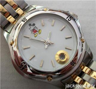 Disney Stunning Gold Silver Disney Catalog Mens Mickey Mouse Watch! New!