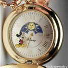 New Disney Rare Sun Moon Dial Mickey Mouse Pocket Watch! HTF!