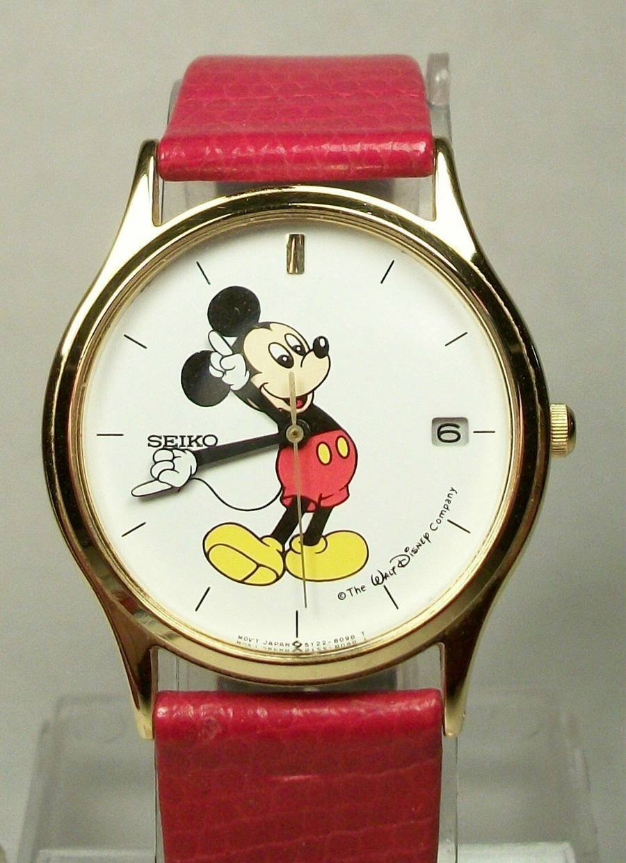 Brand-New Disney Mens Seiko Mickey Mouse Watch! With Date! Red Band! HTF!