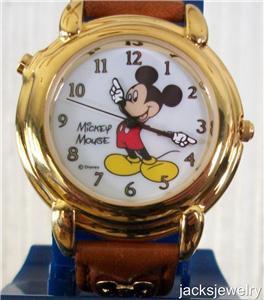 Disney Stunning Gold Lorus Talking Mickey Mouse Watch! New!