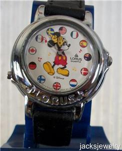 Disney Stunning Silver Small World Lorus Musical Mickey Mouse Watch! New!