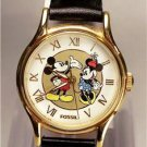 Disney New Limited Edition Gold Ladies Fossil Mickey Mouse Watch!  Rare!