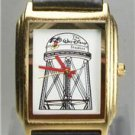 Disney New Gold Tanq Tower Mickey Mouse Watch! Very Hard To Find! Original Case!