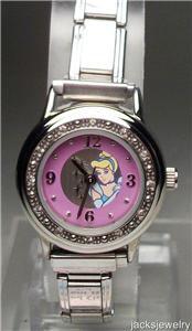 New Disney Rare Crystal Encrusted Cinderella Italian Charm Watch! HTF!