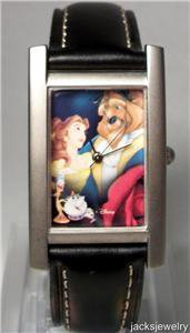 New Disney Rare Silver Tanq Beauty and the Beast Watch! Hard  To  Find!