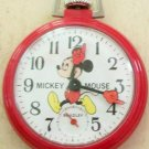 Vintage Wind-Up Bradley Mickey Mouse Pocket Watch! Extremely Rare! Red! HTF!