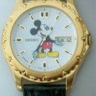 New Disney Mens Seiko Mickey Mouse Watch! Ornate Bezel! W/Date! Pts. To Time!